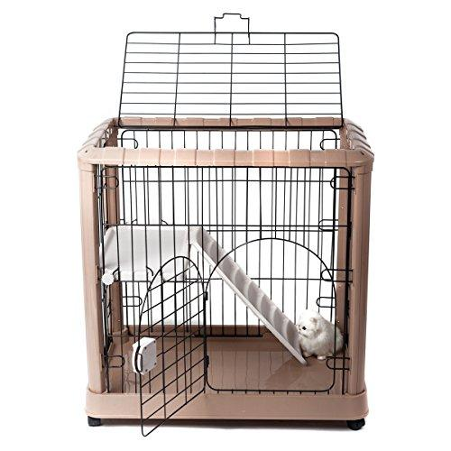 Favorite ...  sc 1 st  Cat my love & Favorite 2-Tier Luxury Cat Metal Crate Cage 2 Doors 34